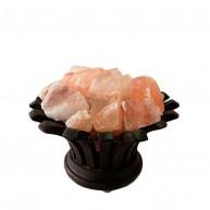Lámpara de Sal del Himalaya Cuenco Flor Madera