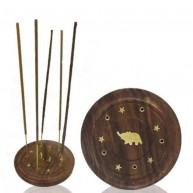 Quemador de conos e inciensos madera forma plato